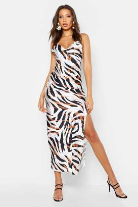 boohoo Tall Zebra Print Satin Slip Dress