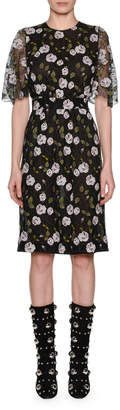 Giambattista Valli Crewneck Lace Short-Sleeve Floral-Print Pencil Dress