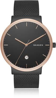 Skagen Ancher Black Steel-Mesh Men's Watch