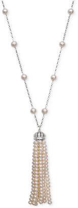 "Belle de Mer Cultured Freshwater Pearl (4 & 7mm) and Cubic Zirconia 36"" Tassel Lariat Necklace in Sterling Silver, Created for Macy's"