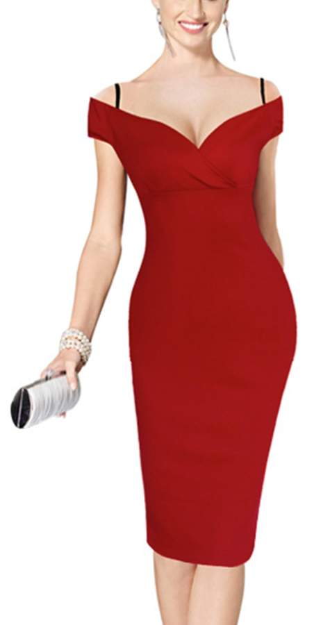 YACUN Women's Sexy Off the Shoulder Solid Cocktail Midi Dress