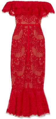 Marchesa Off-the-shoulder Ruffled Corded Lace Midi Dress - Red