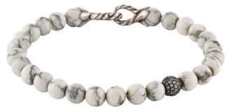 David Yurman Howlite & Diamond Spiritual Bead Bracelet