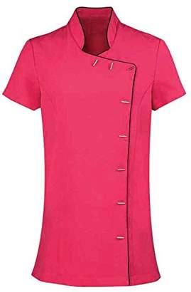 Josie Workwear World WW7 Oriental Beauty Tunic Uniform for Therapist Nail Salon Spa - Pink with Black Piping ()