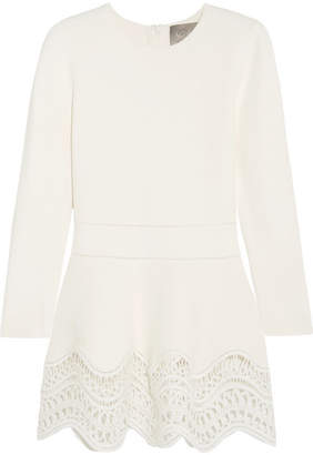Lela Rose - Guipure Lace-paneled Ponte Top - Off-white $995 thestylecure.com