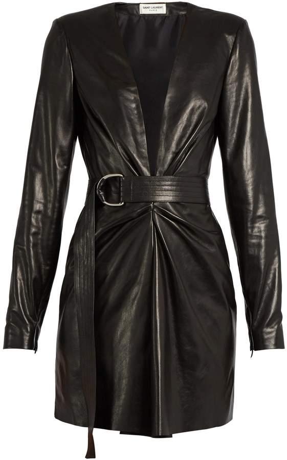Saint LaurentSAINT LAURENT Deep V-neck leather mini dress