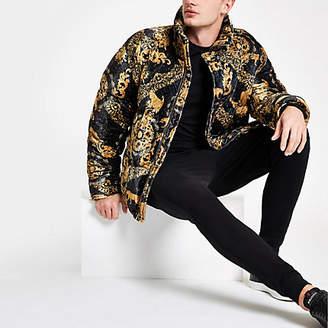 River Island Black velvet baroque print puffer jacket
