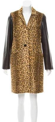 Milly Leather-Trimmed Faux Fur Coat