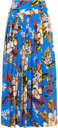 Diane von Furstenberg Pleated Printed Silk Wrap Maxi Skirt - Blue