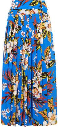 Diane von Furstenberg Pleated Printed Silk Wrap Maxi Skirt - Blue