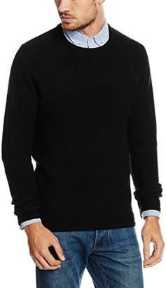 RVLT Men's Knit Pattern Plain Long Sleeve Jumper