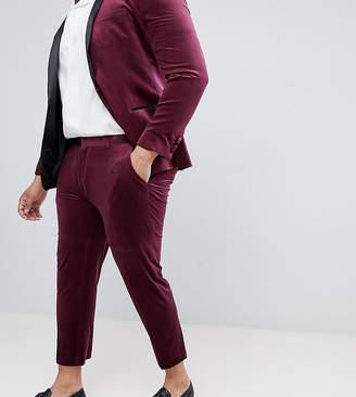 Asos DESIGN PLUS Skinny Crop Smart Pants In Burgundy Velvet