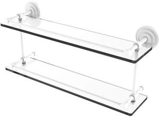 Q.U.E Allied Brass New 22 Inch Double Glass Shelf with Gallery Rail