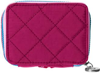 Baggallini Travel Pill Case with Medication Organizer with Lightweight Quilted Nylon, Fuchsia/Pink, (Model:TPC185-Fuchsia)