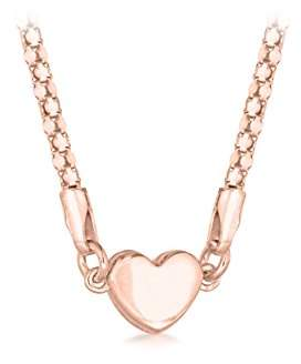 Tuscany Silver Women's Sterling Silver Rose Gold Plated Magnetic Clasp Heart Popcorn Chain Necklace of Length 43 cm/17 Inch