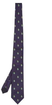 Gucci Floral Silk Jacquard Tie - Mens - Navy Multi