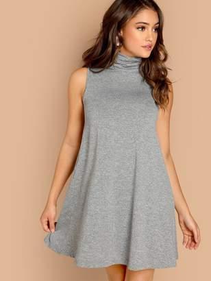 7044e9ce7a Shein Cowl Neck Heathered Knit Swing Dress