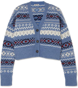 Miu Miu Cropped Fair Isle Wool Cardigan - Blue