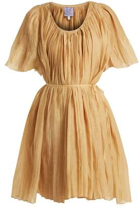Thierry Colson Sparta Pleated Cotton And Silk Blend Dress - Womens - Gold