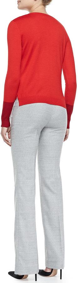 Altuzarra Slim Lightweight Wool Pants, Gray