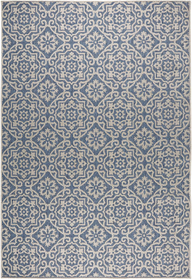 Blue & Gray Tiled Patio Country Indoor/Outdoor Rug