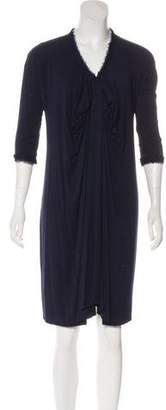 Lanvin Silk-Trimmed Knee-Length Dress