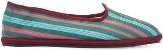 Vibi Venezia 10mm Lavinia Striped Cotton Loafers