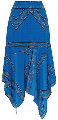 Ganni Cloverdale silk printed asymmetric midi skirt