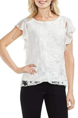 Vince Camuto Embroidered Sequin Ruffle Sleeve Blouse (Regular & Petite)