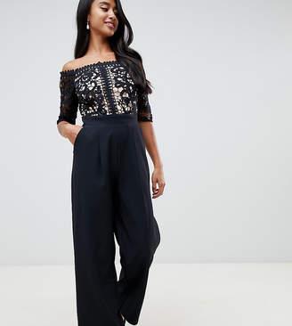 4e58f2c3406c Little Mistress Petite lace applique top tailored jumpsuit in black