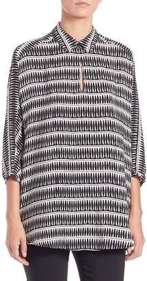 Natori Women's Printed Silk Collared Tunic