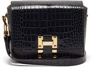 Sophie Hulme - Quick Crocodile Embossed Leather Cross Body Bag - Womens - Dark Blue
