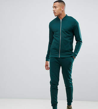 Asos DESIGN tall tracksuit bomber jacket/skinny jogger in green