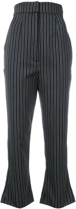 striped cropped flared trousers