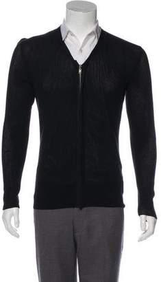 Lanvin Open Knit Zip-Up Cardigan