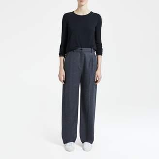 Herringbone High-Waist Pleat Pant