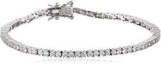 "Amazon Essentials Platinum Plated Sterling Silver Round Cut Cubic Zirconia Tennis Bracelet (2mm), 7.5"""