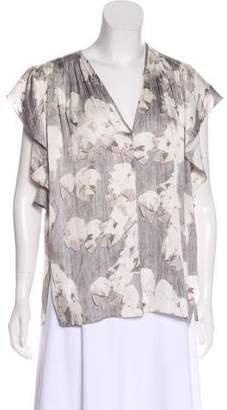 Halston Ruffled Printed Blouse