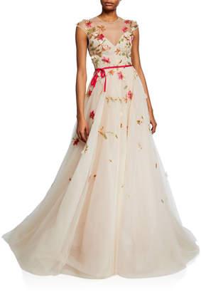 Monique Lhuillier Embroidered Tie-Waist lllusion Ball Gown
