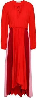 Maje Reona Pleated Color-Block Crepe De Chine Midi Dress