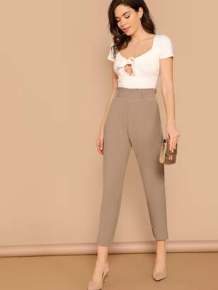 Shein Paperbag Waist Solid Tapered Pants