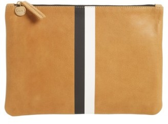 Clare V. Stripe Zip Clutch - Brown $215 thestylecure.com