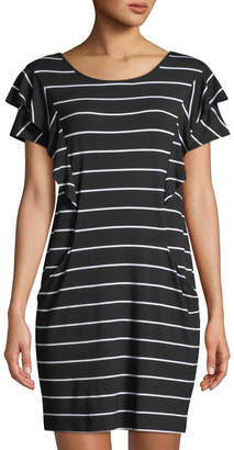 Neiman Marcus Crewneck Ruffle-Detail Short-Sleeve Striped Jersey Dress
