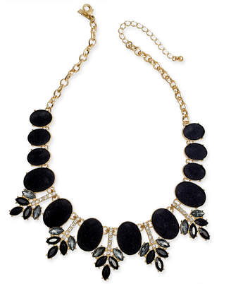 "INC International Concepts I.n.c. Gold-Tone Faux Velvet, Multi-Stone & Crystal Statement Necklace, 17-1/5"" + 3"" extender"
