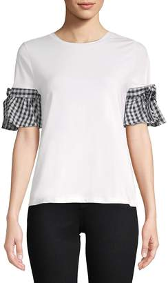 August Silk Women's Gingham Ruffle Trim Tee