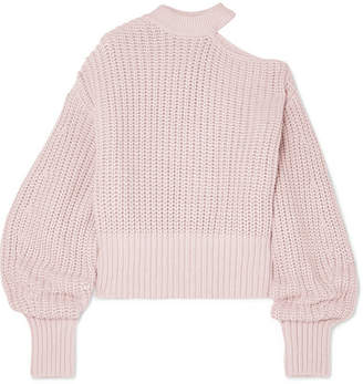 Self-Portrait Cutout Cotton And Wool-blend Sweater - Baby pink