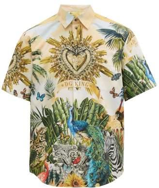 Dolce & Gabbana Tropical Print Cotton Poplin Shirt - Mens - Multi