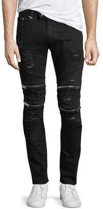 Just Cavalli Distressed Motorcycle Jeans, Black