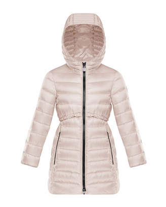 Moncler Quilted Ruffle-Trim Hooded Jacket, Size 4-6