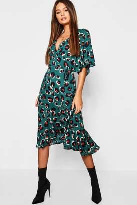 boohoo Wrap Front Ruffle Hem Leopard Print Midi Dress